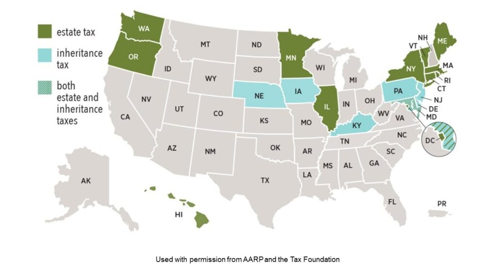 Map showing states with estate and inheritance taxes where ilits could be a good strategy
